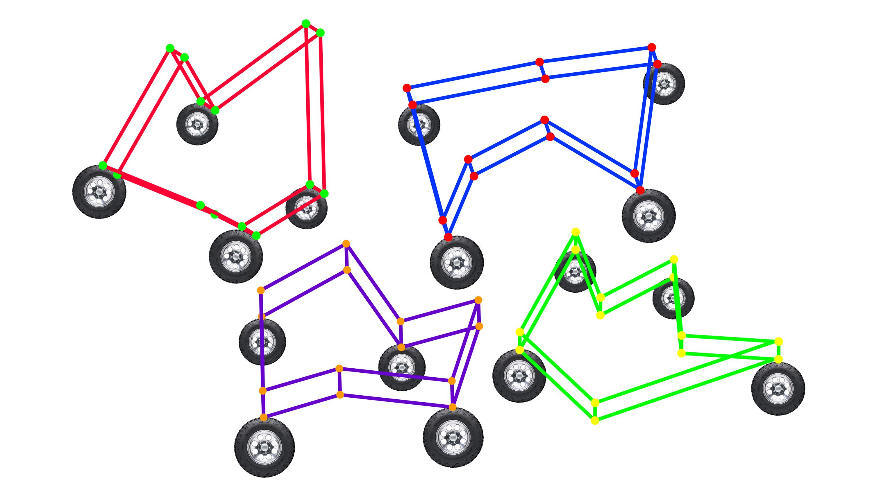Modelo de vehículos con líneas y ruedas