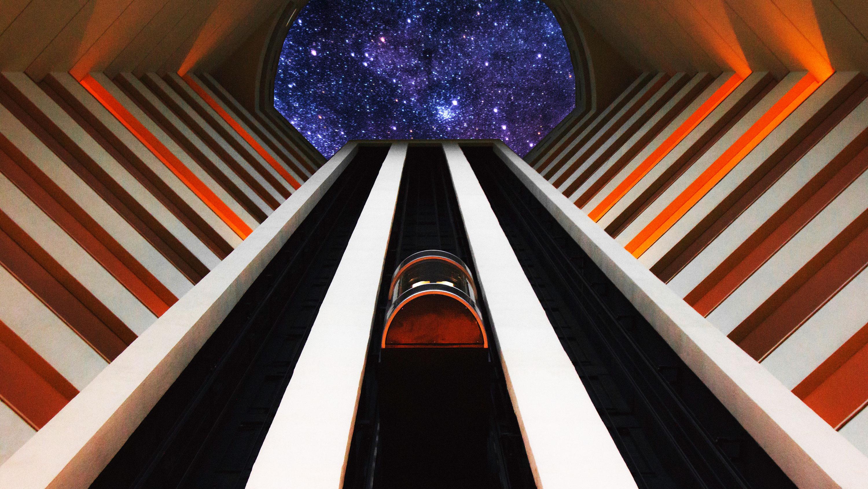 El futuro viaje de la Tierra a la Luna a bordo de un ascensor espacial